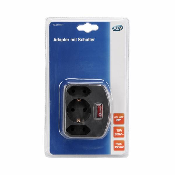 REV 3-fach Adapter s Schalter cerna
