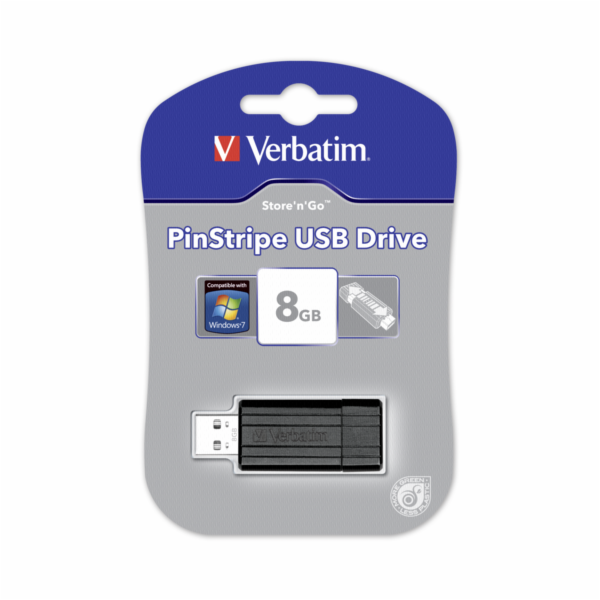 Verbatim Store n Go Pinstripe USB 2.0 cerna 8GB