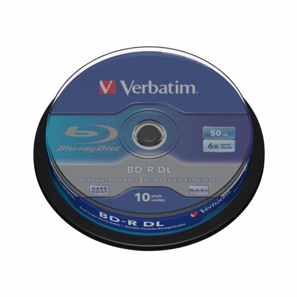 1x10 Verbatim BD-R Blu-Ray 50GB 6x Speed, bila blue Cakebox