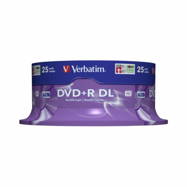 1x25 Verbatim DVD+R Double Layer 8x Speed, 8,5GB matny stribrna