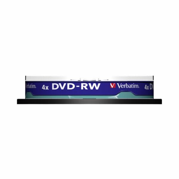 1x10 Verbatim DVD-RW 4,7GB 4x Speed, matny stribrna Cakebox