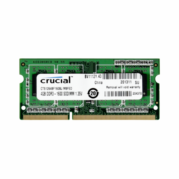 Crucial 4GB DDR3 1600 MT/s CL11 PC3-12800 / SODIMM 204pin single