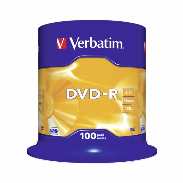 1x100 Verbatim DVD-R 4,7GB 16x Speed, matny stribrna
