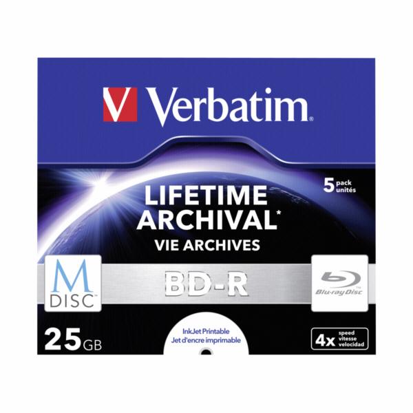 1x5 Verbatim M-Disc BD-R Blu-Ray 25GB 4x Speed, Jewel Case print.