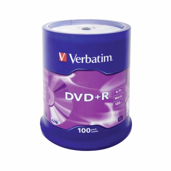 1x100 Verbatim DVD+R 4,7GB 16x Speed, matny stribrna
