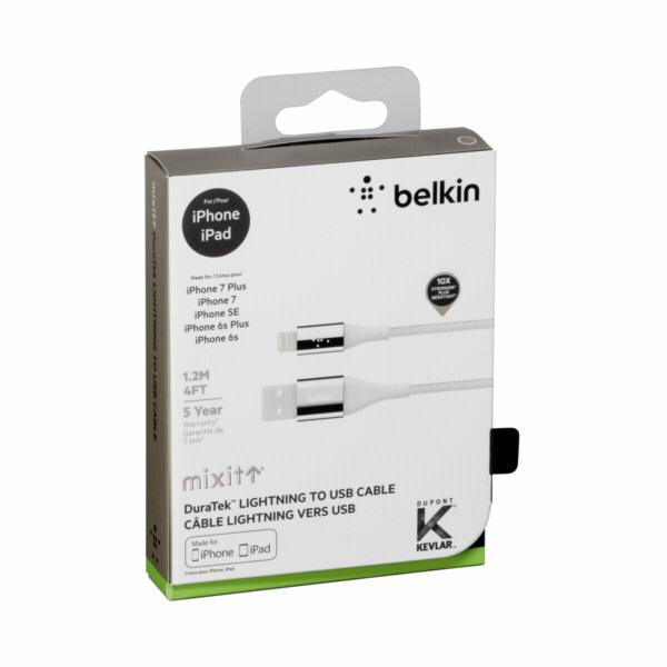 Belkin DuraTek Lightning- / USB- kabel DuPont Kevlar 1,2m silber