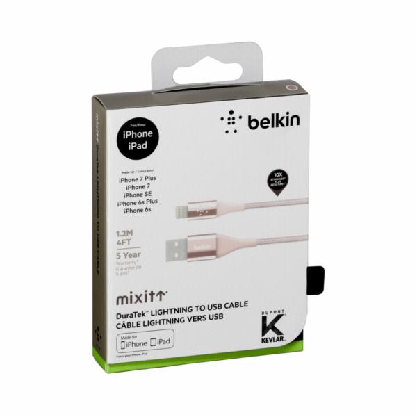 Belkin DuraTek Lightn./USB-kabel DuPont Kevlar 1,2m zlatoruzova