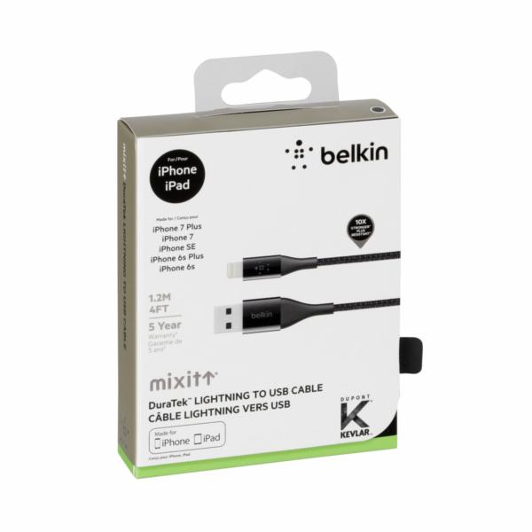 Belkin DuraTek Lightning- / USB- kabel DuPont Kevlar 1,2m cerna