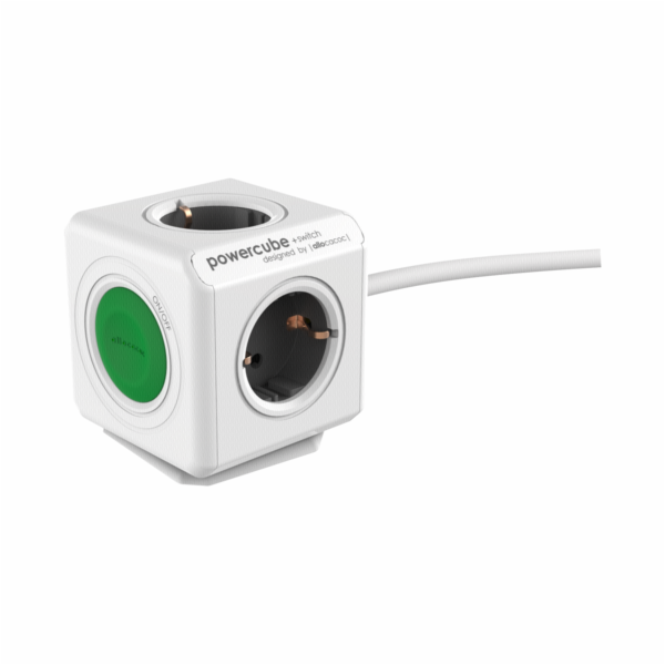 allocacoc PowerCube Extended Switch vc. 1,5 m zelena typ F