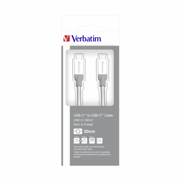 Verbatim Sync & Charge Stainless Steel USB-C to USB-C 3.1 30 cm