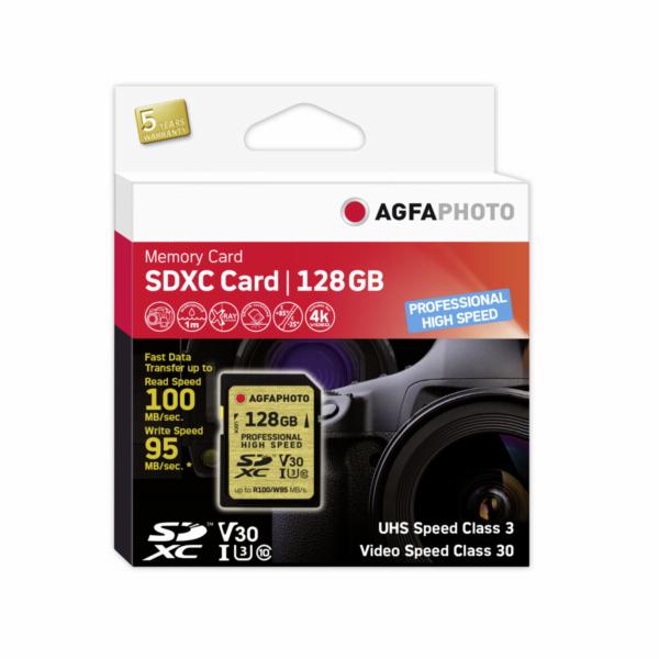 AgfaPhoto SDXC UHS I 128GB Professional High Speed U3 V30