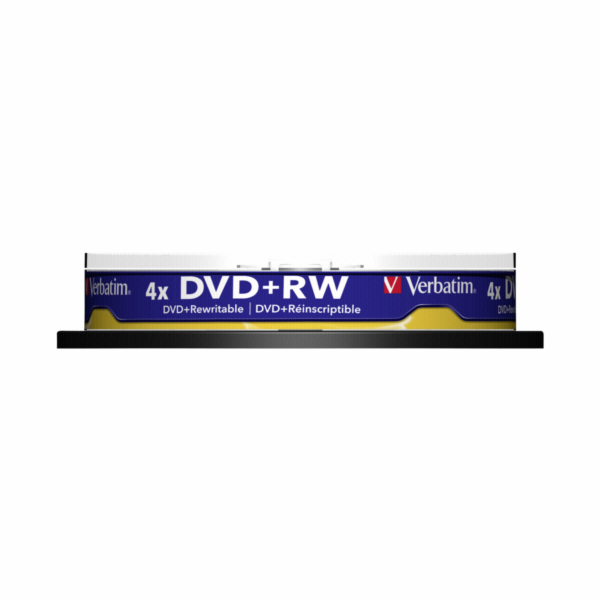 1x10 Verbatim DVD+RW 4,7GB 4x Speed, matny stribrna Cakebox