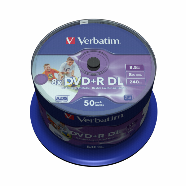 1x50 Verbatim DVD+R Double Layer 8x Speed, 8,5GB wide printable