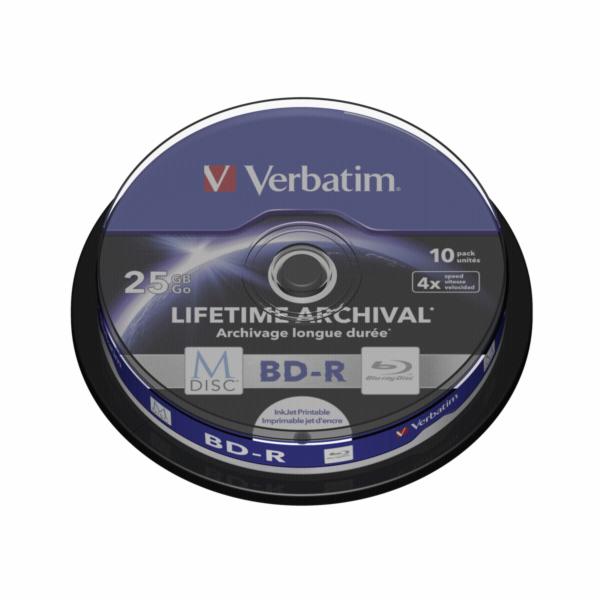 1x10 Verbatim M-Disc BD-R BluRay 25GB 4x Speed Cakebox printable