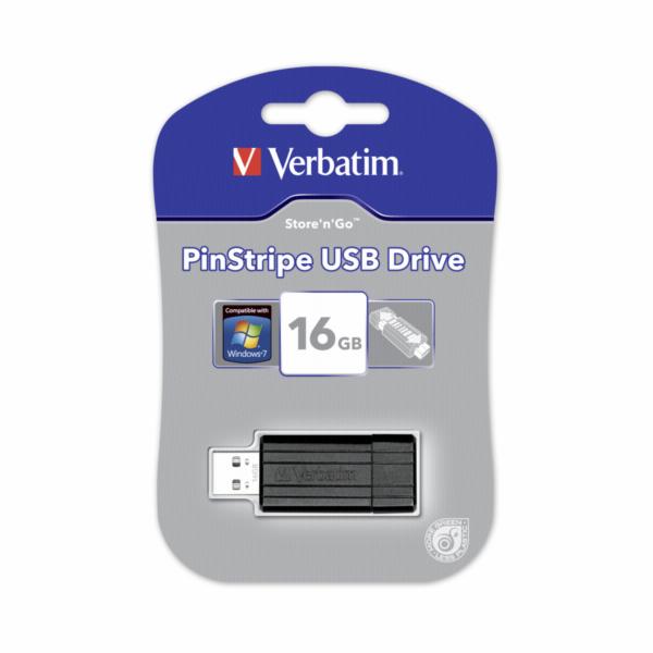 10x1 Verbatim Store n Go 16GB Pinstripe USB 2.0 cerna