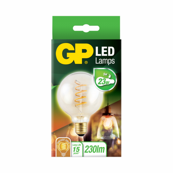 GP Lighting LED Vintage G95 Gold Spiral E27 5W (23W)