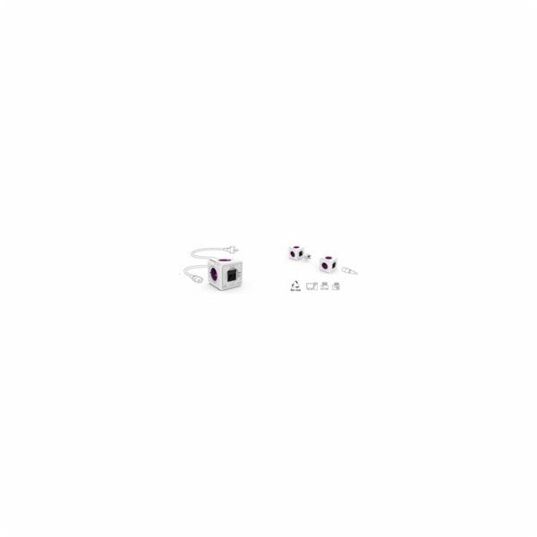 Allocacoc PowerCube ReWirable USB + Travel Plugs, white/purple
