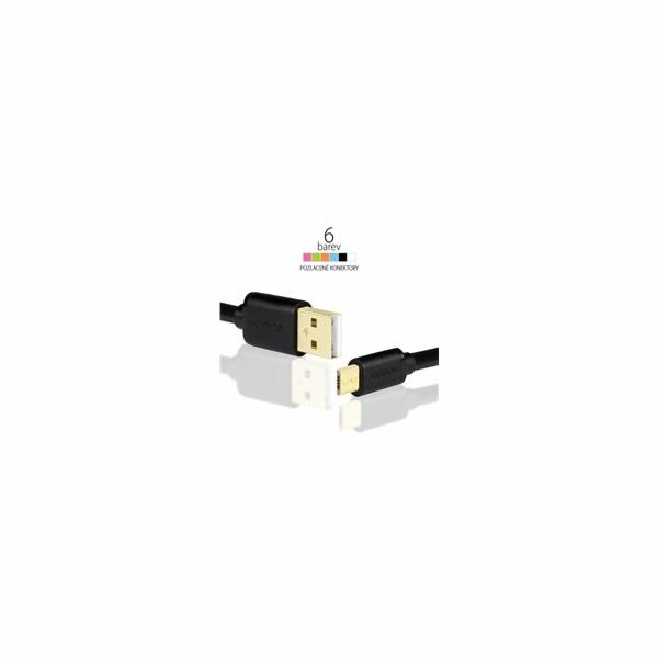 AXAGON - BUMM-AM02QB, HQ Kábel Micro USB <-> USB A, dátový a nabíjací 2A, čierny, 0.2 m