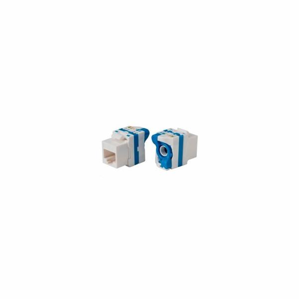 Keystone Cat6, UTP, uzavíratelný se zámkem, bílý s barevným pruhem