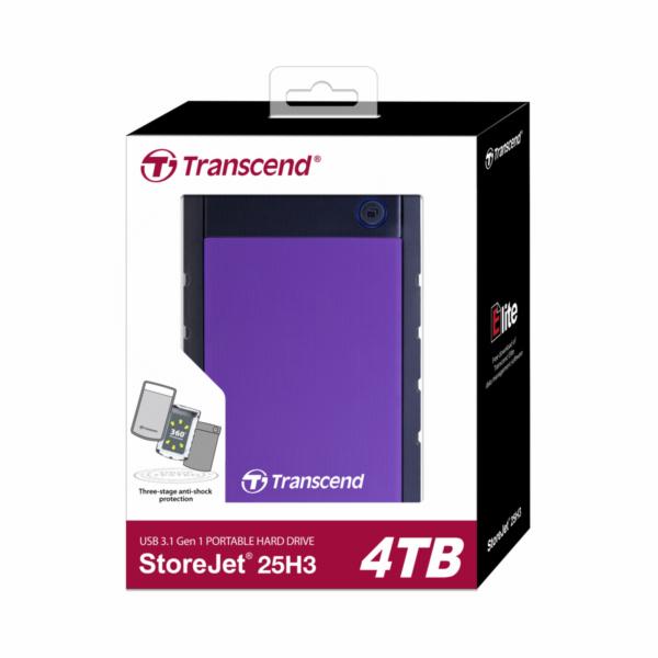 """TRANSCEND 4TB StoreJet 25H3P, 2.5"""", USB 3.0 (3.1 Gen 1) Externí Anti-Shock disk, tenký profil, černo/fialový"""