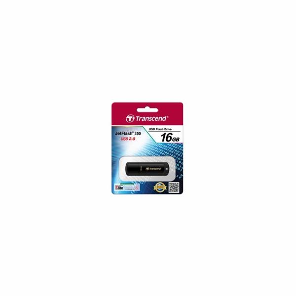 TRANSCEND Flash Disk 16GB JetFlash®350, USB 2.0 (R:13/W:4 MB/s) černá