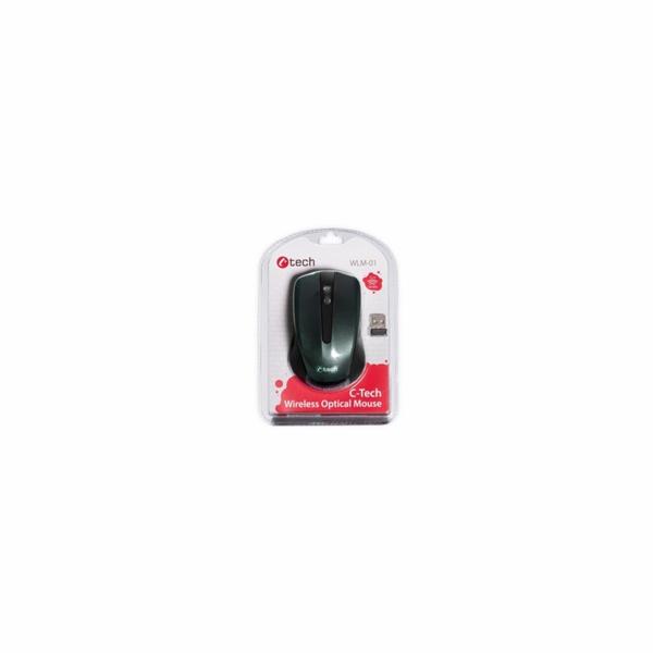 C-Tech WLM-01BK myš, černá, bezdrátová, USB nano receiver