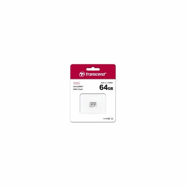 TRANSCEND MicroSDXC karta 64GB 300S, UHS-I U1, bez adaptéru