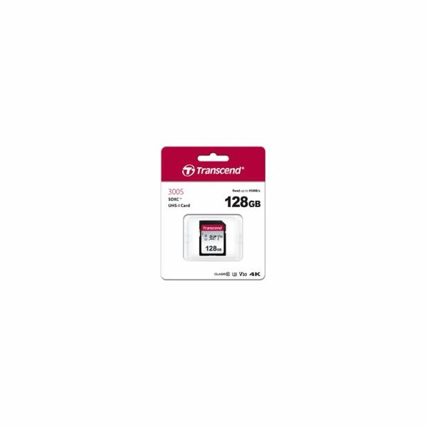 TRANSCEND SDXC karta 128GB 300S, UHS-I U3 V30 (R:95/W:45 MB/s)