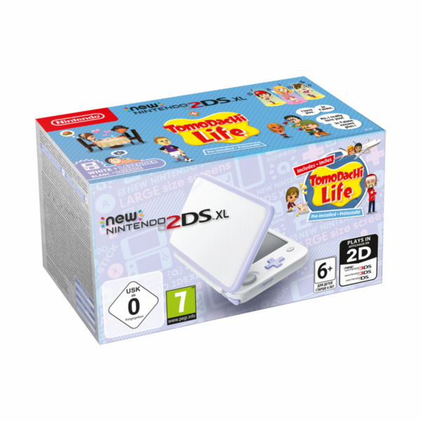 New Nintendo 2DS XL white lavendel incl. Tomodachi Life