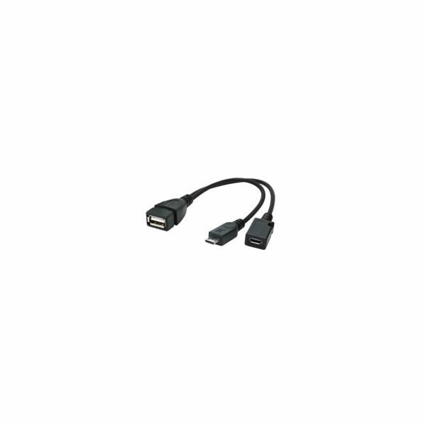 Kabel CABLEXPERT USB AF/micro BM + micro BF, OTG + dobíjení, 15cm, pro tablety a smartphone