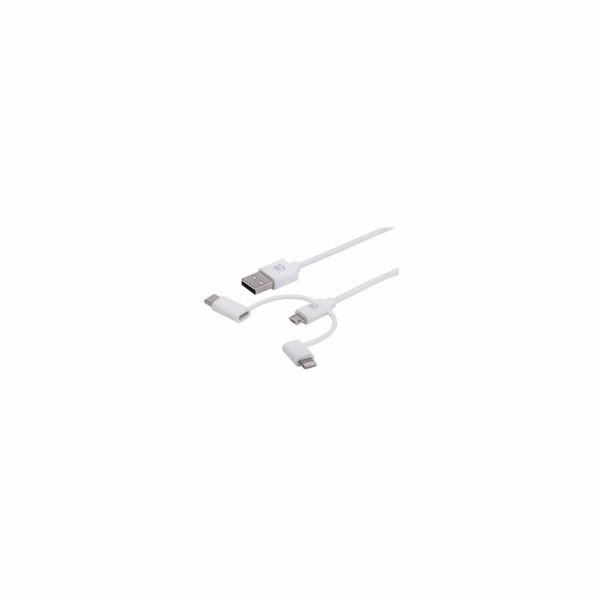 MANHATTAN USB 3-in-1 Charging and Data Cable, bílý