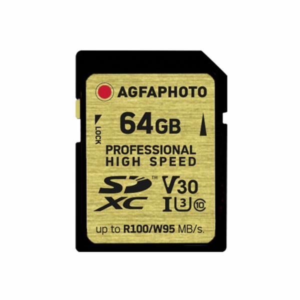 AgfaPhoto SDXC UHS I 64GB Professional High Speed U3 V30