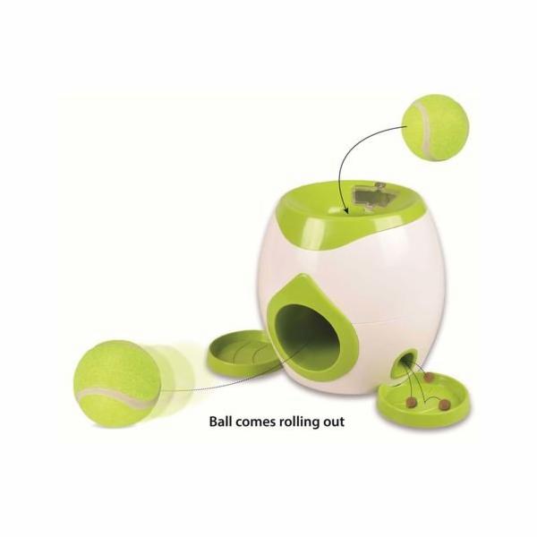 Flamingo Interaktivní hračka na pamlsky s tenisovým míčkem pro psy 29 x 19 x 18 cm