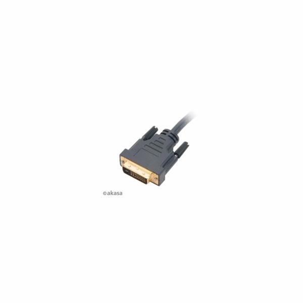 AKASA kabel DVI-D na HDMI, pozlacené konektory, 2m