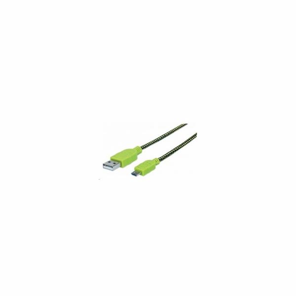 MANHATTAN Kabel USB 2.0 A-Micro B propojovací 1m, opletený (černá/zelená), Polybag