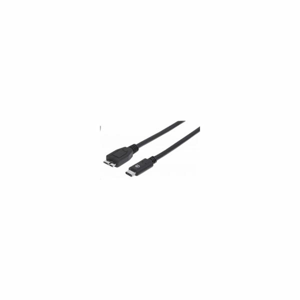 MANHATTAN USB-C 3.1 Gen2 Cable, USB Type-C Male / Micro-B Male, 3A, 1 m (3 ft.), Black