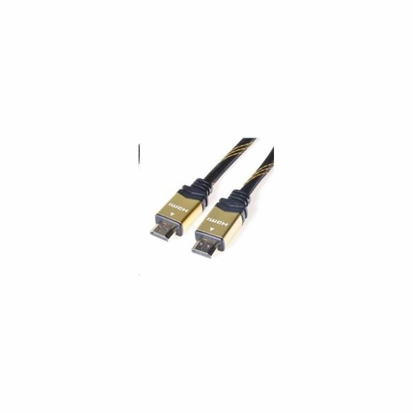 PREMIUMCORD Gold HDMI High Speed + Ethernet kabel (v1.4), opletený, zlacené konektory, 3m