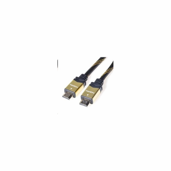 PREMIUMCORD Gold HDMI High Speed + Ethernet kabel (v1.4), opletený, zlacené konektory, 5m