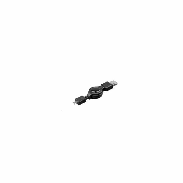 PREMIUMCORD Kabel navíjecí USB 2.0 A-Micro B propojovací 0,8m (černý)