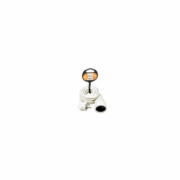 Solight prodlužovací kabel - spojka, 1 zásuvka, bílá, 3m