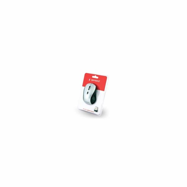 GEMBIRD myš MUSW-4B-02-BS, černo-stříbrná, bezdrátová, USB nano receiver
