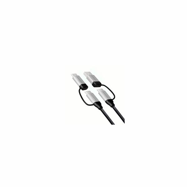 AXAGON BUCMM-CAM10, 4in1 kabel USB-C/Micro USB <-> USB-C/USB-A, 1m, 3A, PD 60W