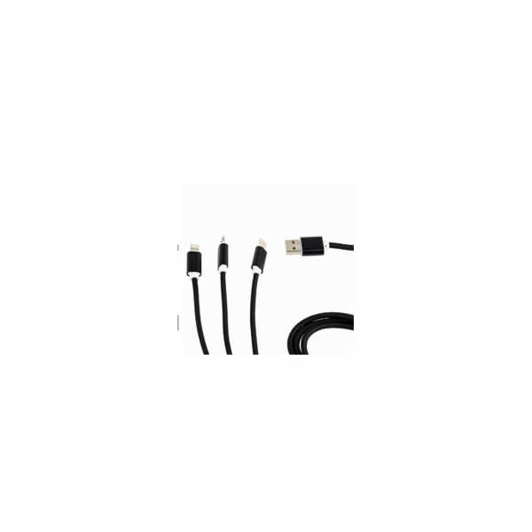 GEMBIRD Kabel CABLEXPERT USB A Male/Micro B + Type-C + Lightning, 1m, opletený, černý, blister