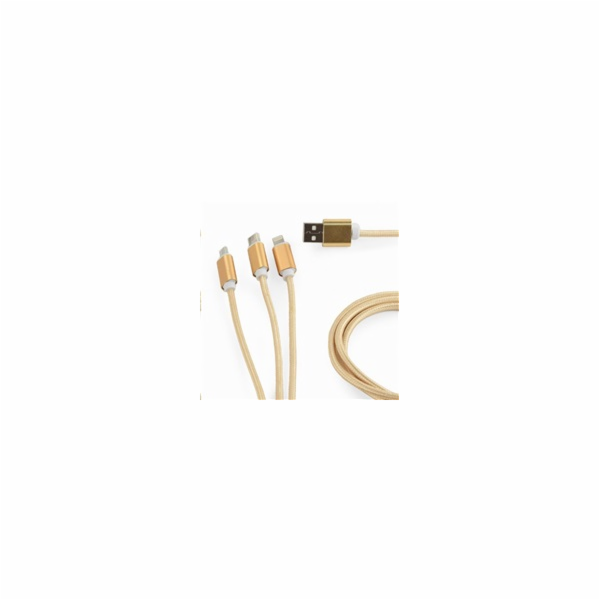 GEMBIRD Kabel CABLEXPERT USB A Male/Micro B + Type-C + Lightning, 1m, opletený, zlatý, blister