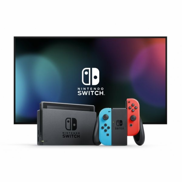 NintendoSwitch console with neonred&blue