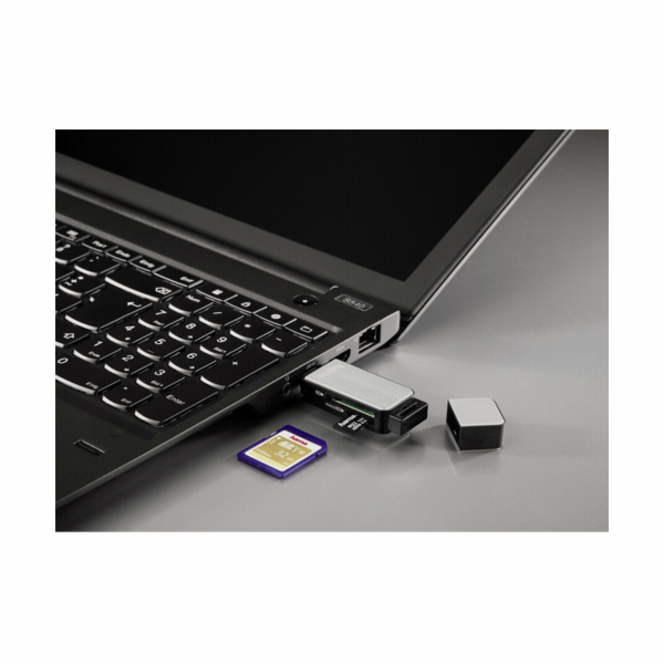 Hama USB 3.0 multictecka karet SD/microSD Alu cerna/ stribrna