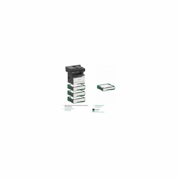 LEXMARK Multifunkční ČB tiskárna MX522adhe, A4, 44ppm, 2048MB, barevný LCD displej, duplex,DADF, USB