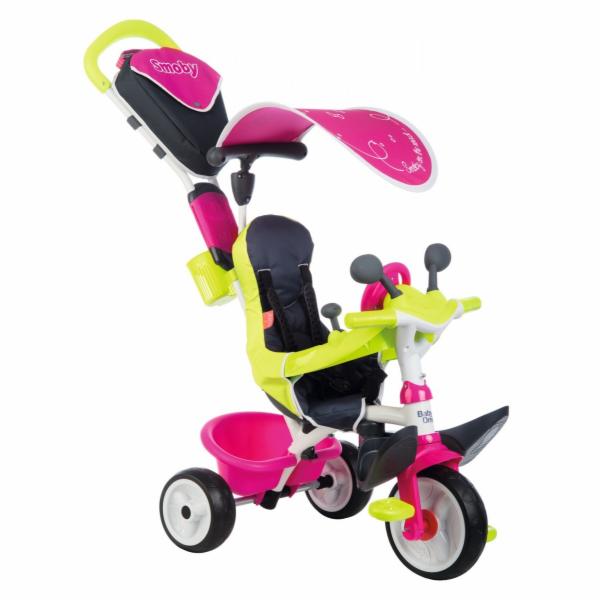 Tříkolka s potahem Baby Driver Comfort Pink Smoby a intuitivním ovládáním