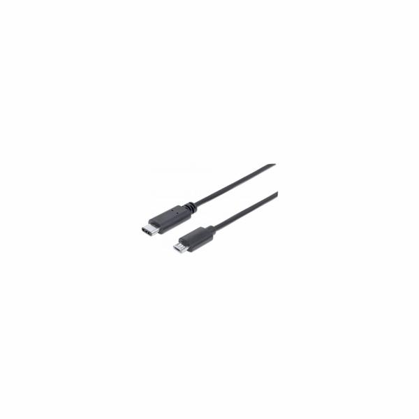 MANHATTAN kabel Hi-Speed USB-C, Type-C Male to Micro-B Male, 2m, černý