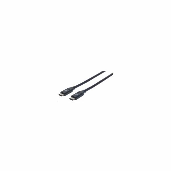 MANHATTAN USB 3.1 Gen2 Cable, Type-C Male / Type-C Male, 50 cm 3A, Black